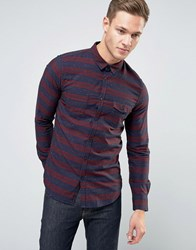 Sisley Pocket Shirt With Stripe And Fleck Detail In Regular Fit Burgundy 921 Red