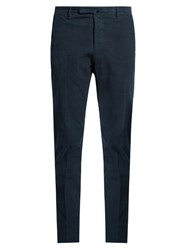 Incotex Slim Fit Cotton Blend Waffle Corduroy Trousers Navy