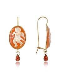 Del Gatto Angel W Flute Cornelian Cameo Drop Earrings Gold