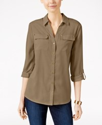 Charter Club Petite Utility Shirt Only At Macy's Soft Chestnut