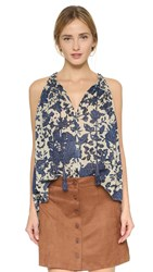 Derek Lam Batik Floral Blouse With Ties Birch Denim
