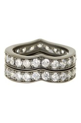 Freida Rothman Pave Cz Heart Stack Ring Set Size 8 Black