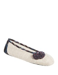 Isotoner Samantha Ballerina Slip On Slippers Oatmeal Heather