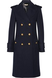 Michael Kors Collection Double Breasted Melton Wool Coat Navy