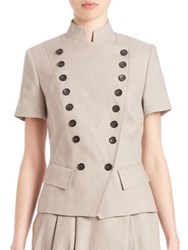 Pauw Double Breasted Short Sleeve Jacket Beige