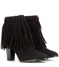 Polo Ralph Lauren Sandrine Fringed Suede Ankle Boots Black