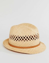 Catarzi Straw Trilby With Leather Band Beige