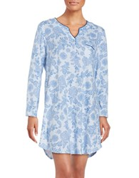 Karen Neuburger Floral Knit Nightshirt Blue