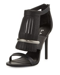 L.A.M.B. Media Fringe Leather Sandal Black