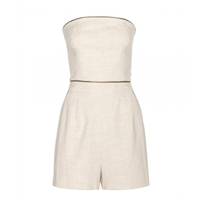Tamara Mellon Cotton And Linen Blend Playsuit Natural