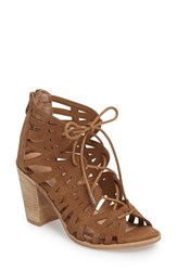 Very Volatile Women's Anabelle Cutout Lace Up Sandal Tan Suede