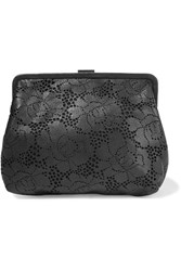 Clare V. V Pierlot Supreme Laser Cut Leather Clutch Black