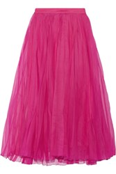 Gucci Pleated Silk Blend Organza Midi Skirt Fuchsia