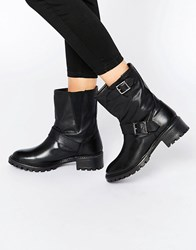 Pieces Psuda Leather Biker Boots Black