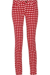M Missoni Checked Stretch Cotton Blend Twill Skinny Pants Red
