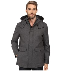Cole Haan Waterproof Wool Duffle With Removable Hood Ironstone Men's Coat Gray