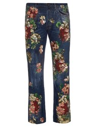 Gucci Blooms Print Mid Rise Cropped Jeans Indigo