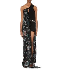 Versus Floral Print Silk And Crepe Gown Multicolor