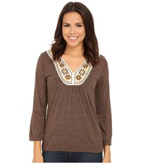 Roper 9917 Heather Jersey Peasant Top Brown Women's Clothing