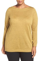 Eileen Fisher Plus Size Women's Bateau Neck Fine Merino Jersey Top