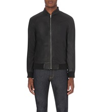 Reiss Kent Funnel Neck Leather Jacket Black