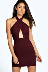 Boohoo Halter Neck Wrap Over Bodycon Dress Berry