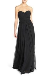 Women's Jenny Yoo 'Mira' Convertible Strapless Pleat Chiffon Gown Black