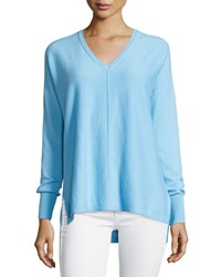 Lilly Pulitzer Allessandra V Neck High Low Cashmere Tunic Breakwater Blue
