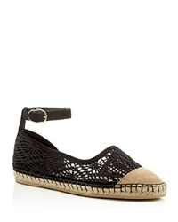 Cole Haan Noomi Lace Ankle Buckle Espadrille Flats Black
