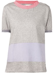 Band Of Outsiders Striped Panel T Shirt Grey