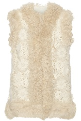 Sea Shearling Trimmed Guipure Lace Gilet