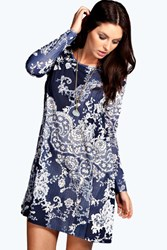 Boohoo Long Sleeve Printed Swing Dress Blue