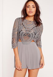 Missguided Crochet Lace Cut Out Playsuit Grey Grey