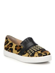 Kate Spade Courtney Cheetah Print Calf Hair And Leather Slip On Sneakers Beige