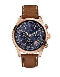 Guess Ladies Blue Print Rose Goldtone Sport Chronograph Watch Brown