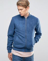 Jack And Jones Faux Suede Bomber Jacket Ensight Blue Grey