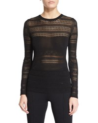 Tom Ford Long Sleeve Pointelle Knit Top Black