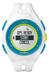 Men's Timex Resin Gps Watch 46Mm White Blue Yellow