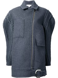 Stella Mccartney Oversize Knit Sleeve Coat Grey