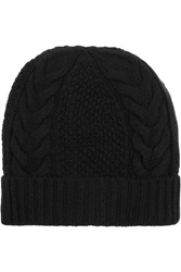 N.Peal Cashmere Cable Knit Cashmere Beanie Black