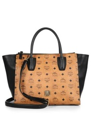 Mcm Kathy Visetos Medium Coated Canvas 2 Zip Tote Cognac Black
