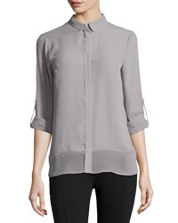 T Tahari Sheer Panel Tabbed Blouse Silverpoin
