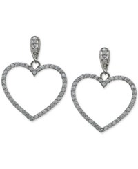 Giani Bernini Cubic Zirconia Pave Open Heart Drop Earrings In Sterling Silver Only At Macy's