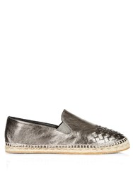 Bottega Veneta Intrecciato Leather Espadrilles Silver