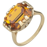 Cabinet 9Ct Gold Plated Swarovski Crystal Beetle Rectangle Ring Topaz