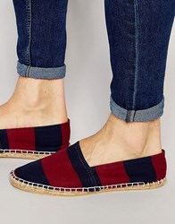 Asos Espadrilles In Navy And Burgundy Wide Stripe Canvas Burgundy Navy