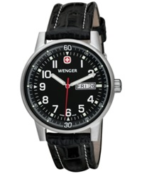Wenger Men's Swiss Commando Black Leather Strap Watch 40Mm 70164