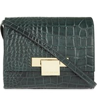 Kurt Geiger Annie Crocodile Embossed Leather Cross Body Bag Dark Green