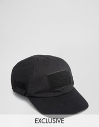 Reclaimed Vintage Baseball Cap With Velcro Black Black