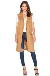 J.O.A. Sleeveless One Button Coat Tan